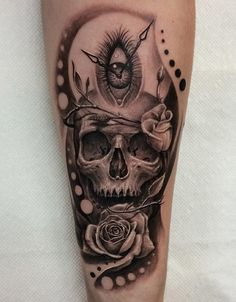3D skull with rose tattoo - 100 Awesome Skull Tattoo Designs  <3 <3