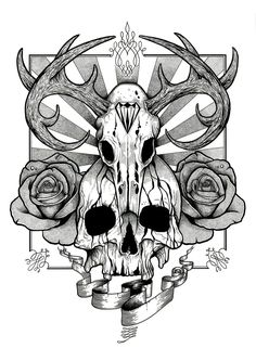 Skull and Roses tattoo design by AaronKingIllustrator
