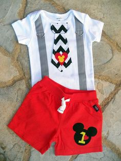 Mickey Mouse Birthday Tie and Suspenders Onesie and Shorts for Baby Boy First Birthday Disney Clothing Birthday Party Little Man Tie Outfit on Etsy, $36.00