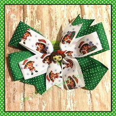 Dora the explorer Christmas hair bow clip - toddler girl green red boutique style