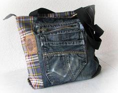 Denim tas Jeans bag Patchwork tas handgemaakte tas Recycled jeans Jean Jean patchwork handtas gemaakt van jeans