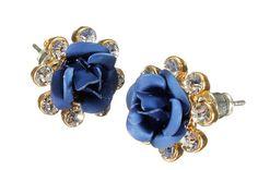 Crystal Rhinestone Blue Rose Flower Ear Stud Earrings For Women FREE SHIPPING