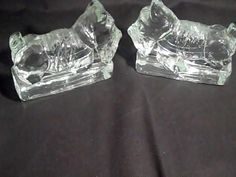 Scottie Dog 2 Vintage Bookends Doorstop from  Corning Glass Port Allegany PA