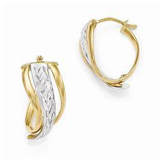 Leslies 14k w/White Rhodium Polished & D/C Fancy Hoop Earrings