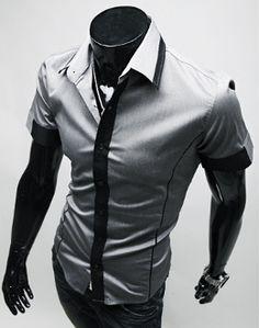 Men's Short Sleeve Two Tone Shirt