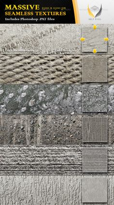 6 Seamless Concrete Textures 2  #GraphicRiver         All 6 textures in this file have been designed at the massive resolution of 1500×1500px so that you can scale them all the way from close up detail of the content out to a fine repeating pattern.  The download itself contains;     6 full color jpg files    1 Photoshop PAT file including 6 patterns    A detailed help file for using the .PAT file in Photoshop   The textures can be used when designing;     Web pages    Twitter pages    3D…