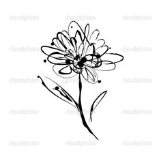 Images For > Gerber Daisy Line Drawing