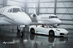 Private Jets + Ferrari ok why have one when you can two planes and a car! Luxury Jets, Luxury Private Jets, Private Plane, Ferrari F430, Aircraft Design, Jet Plane, Water Crafts, Cool Cars, Super Cars