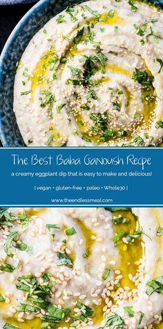 SAVE FOR LATER! This is the best baba ganoush recipe. It's a super easy to make and healthy dip recipe that's perfect for lunch, snacks, or to bring to a party. Roast the eggplants on your BBQ during the summer or in your oven in winter. Healthy Dip Recipes, Healthy Dips, Whole Food Recipes, Vegetarian Recipes, Cooking Recipes, Summer Recipes, Vegan Eggplant Recipes, Cooking Kale, Healthy Eating