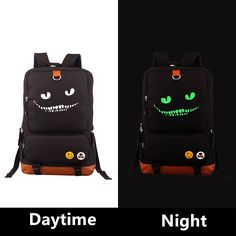 2017 Alice's Adventures in Wonderland Cheshire cat Emoji Luminous Printing Leisure Laptop Backpack School Bags Mochila Escolar