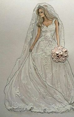 Stunning Sophie- in a remarkable Enzoani- Wedding Dress Illustrations, Wedding Dress Sketches, Wedding Illustration, Illustration Mode, Fashion Illustrations, Fashion Design Drawings, Fashion Sketches, Wedding Art, Wedding Gowns