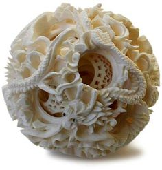 Ivory Puzzle Ball from China 12 independently rotating inner sections. Intricately carved from a solid block using specialized tools. Ancient Artefacts, Museum Studies, Cameo Necklace, Buddhist Art, Stone Carving, Drawing For Kids, Chinese Art, Decorative Items, Artists