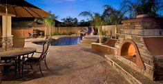 Concrete Pool Decks - Phoenix, AZ - Photo Gallery - The Concrete Network Backyard Gazebo, Fire Pit Backyard, Nice Backyard, Desert Backyard, Wedding Backyard, Pergola Patio, Cement Patio, Concrete Patios, Concrete Prices