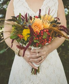 Richly Hued Bouquets with Dried Leaves and Wheat from Studio 29 | blog.theknot.com