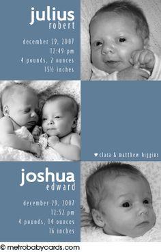 Modern Photo Birth Announcements - Twins :: Julius & Joshua Design
