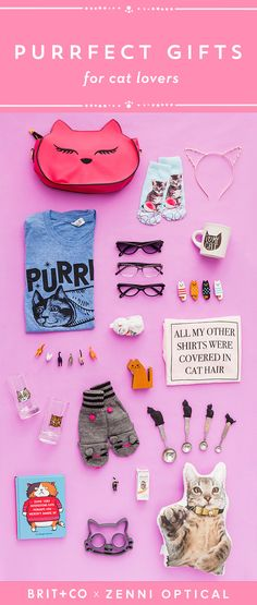 Calling all cat-lovers. This gift guide is the cat's meow. For the complete gift guide visit: http://www.brit.co/gift-guide-for-cat-lovers/.
