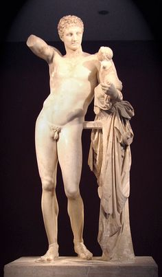 Hermes and the Infant Dionysus - Wikipedia; traditionally attributed to Praxiteles and dated to the 4th c B.C.