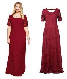 02 Burgundy Women Lady Lace Long Maxi Formal Evening Party dress Plus Size 24W