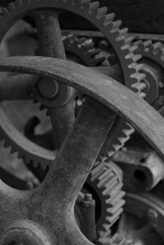 gears, industrial, metal, silver, screws, cold, smooth, meshes tightly together, shiny, turning parts, nuts, bolts, axles