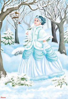 Pierwszy dzień zimy Weather For Kids, Winter Kids, Winter Princess, Snow Maiden, Butterfly Art, Autumn Activities, Russian Art, Whimsical Art, Christmas Art