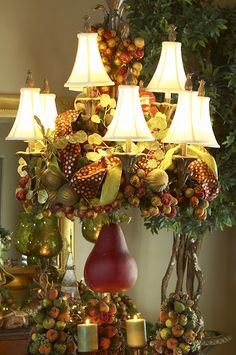 OMG...I decorate my chandeliers but this is a 100%, to die for, WOW chandelier.  Don't stop where you usually do.  Add more ornaments.  Add more ribbon.  Stick dozens of fruit picks in among the ornaments.  Twine it all up the chandelier.  Keep going until you get dragged off the ladder and sedated.