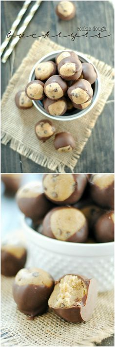 Cookie Dough Buckeyes - Something Swanky Köstliche Desserts, Delicious Desserts, Dessert Recipes, Yummy Food, Candy Recipes, Cookie Recipes, Peanut Butter Truffles, Oreo Truffles, Yummy Treats