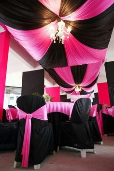 Hot Pink Wedding Would Be Cute In Black And White Too Love The Feather Detail Hanging Crystals Could Do With Pearls