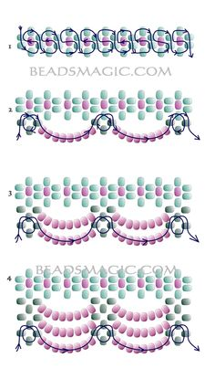 beaded necklace patterns beaded+jewelry+p - beading Seed Bead Tutorials, Beading Tutorials, Beading Projects, Beading Techniques, Beading Patterns Free, Seed Bead Patterns, Free Pattern, Bead Jewellery, Seed Bead Jewelry