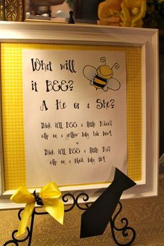 What will it BEE? A He or a She? think it'll BEE a little miss? clip on a yellow baby hair bow. think it'll BEE a little mr? clip on a black baby tie!