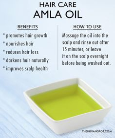 Amla oil hair care - Amla oil acts as a natural conditioner, reduces hair loss and graying, and encourages strong and healthy hair growth. Pelo Natural, Natural Hair Tips, Natural Hair Growth, Natural Hair Styles, Au Natural, Natural Skin, Darken Hair Naturally, How To Darken Hair, Amla Oil