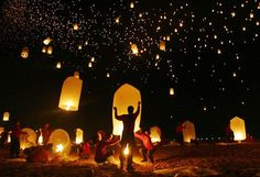 Five thousand floating paper lanterns fill the sky over the Andaman Sea in remembrance of tsunami victims during the one-year anniversary in Khao Lak, Thailand.