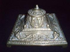 brass inkwell Italian Renaissance style ink holder 1880 free shipping