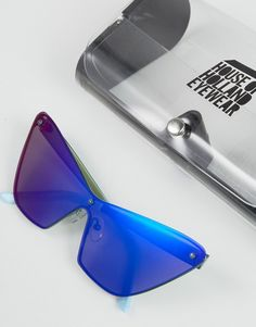 a14d2bf4f48 House of Holland Mossy Sunglasses with Blue Mirror Lens Blue Mirrors