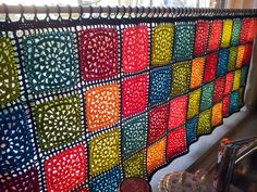 """A gorgeous granny square cafe curtain, by Karin aan de haak.  She used Garn Studio's pattern DROPS 138-32 'Romantic Memories.'  Square is 6""""x6"""" & is only 7 rounds.  Pattern link here:  http://www.garnstudio.com/lang/us/pattern.php?id=5592=us    #crochet #square #motif"""