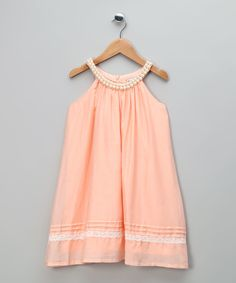 Peach Silk Blend Dress with Lace - Infant, Toddler & Girls