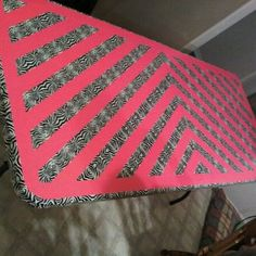 Zebra and Pink Duck Tape Table