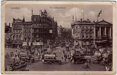Vintage postcard of Piccadilly Circus, London, c.1915.