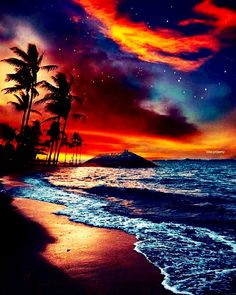 Sunsets on the beach Beautiful Sunset, Beautiful Beaches, Beautiful World, Hawaiian Sunset, Hawaiian Art, Sunset Beach, Singapore Photos, The Beach, Sunset Wallpaper