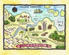 "Realm of Good Cheer Fantasy Map / 8"" x 10"" Fine Art Print / Fantasy Decor / Fairy Tale Art / Fantasy Art / Imaginary Map"