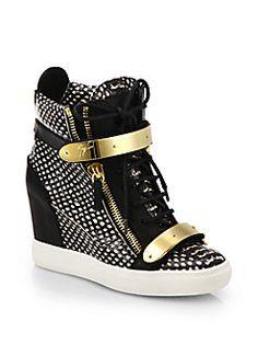 Giuseppe Zanotti - Snake-Print Leather Wedge Sneakers