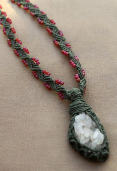 Calcite Macrame Hemp Wrap Necklace  by PerpetualSunshine111, $50.00