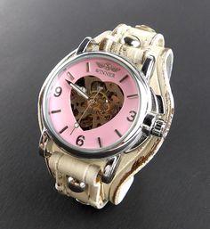 Distressed white Leather Cuff, Women's watch, Rustic leather watch, Pink wrist watch, Skeleton watch