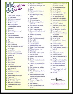 99 Coping Skills! Could think of a bunch of activities to use these in...                                                                                                                                                      More