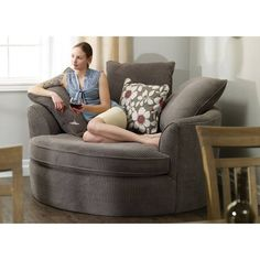 perfect in corners this oversized round nest chair features ample cushions two distinctive fabric options and a great price making it a winner for any - Oversized Reading Chair