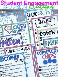 "Are you tired of using the same speaking and listening strategy over and over again?  We love the tried and true strategy ""Turn and Talk"" but are ready to add a few more discussion strategies to our teaching tool belts. These 10 simple strategies will engage your students in discussion and help you meet the Speaking and Listening Core standards."