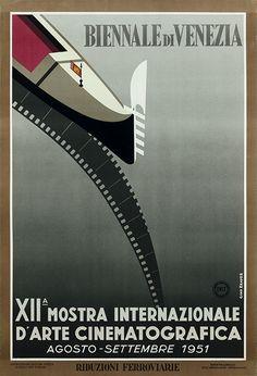 Biennale di Venezia - XIIa Mostra Internationale D'Arte Cinematografica 1951 Entwurf Gino Krayer, Italien 1951. Vintage Italian Posters, Vintage Advertising Posters, Poster Vintage, Print Advertising, Vintage Travel Posters, Vintage Advertisements, Vintage Ads, Film Movie, Movies