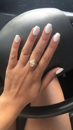 74 Stunning Short White Acrylic Nail Designs to Inspire You - Short acrylic nails coffin - White Nail Designs, Short Nail Designs, Acrylic Nail Designs, Nail Art Designs, White Acrylic Nails, White Nail Art, White Acrylics, Rounded Acrylic Nails, Matte White Nails