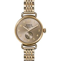 Shinola The Canfield 38mm Nude Dial Watch (11.682.000 IDR) ❤ liked on Polyvore featuring jewelry, watches, slim watches, thin watches, rose jewelry, thin wrist watch and stainless steel jewellery