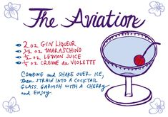 The Aviation Cocktail Recipe Card by Caitlin Keegan Illustration for Oh So Beautiful Paper