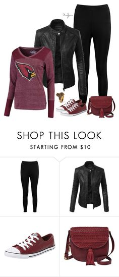 """""""Cardinal"""" by mandyjeanb87 on Polyvore featuring Boohoo, LE3NO, Touch by Alyssa Milano, Converse, FOSSIL and Gucci"""